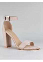 Beige sandal med høj hæl