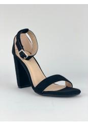 Åben sko med enkelt rem og høj chunky hæl