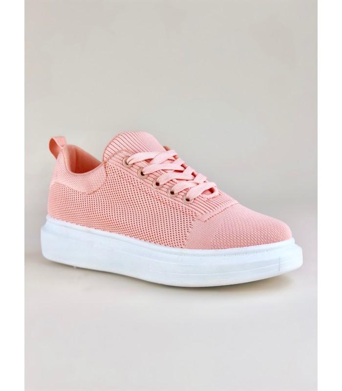 Rosa strikket sneakers
