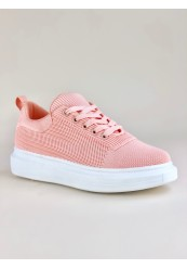 Rosa strikket sneakers