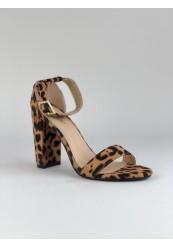 Fed leopard sko med høj chunky hæl