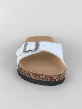 Slip In Sandal med Hvid Spænde