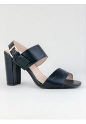 Sort sandal høj blokhæl