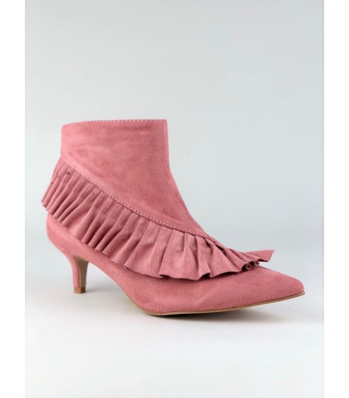 Pink støvletter med kitten heel og frynser