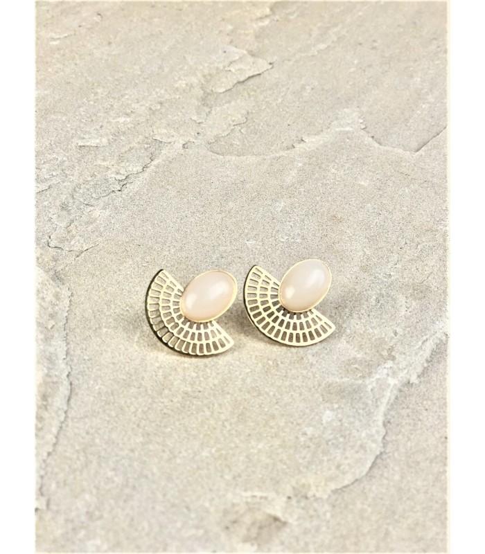 Øreringe med hvide sten