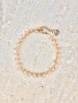 Armbånd lyserøde perler