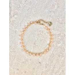 Image of   Armbånd lyserøde perler