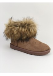 Brun bamsestøvle i ruskindslook med pels