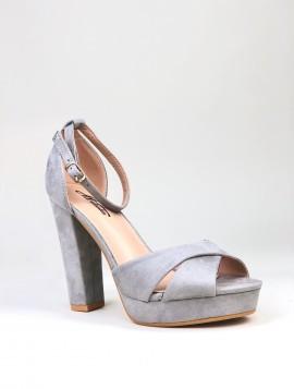 Grå plateau sandal i ruskindslook