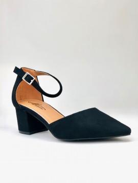 Sort spids sko i imiteret ruskind
