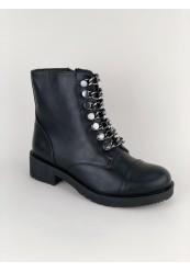 Støvle i råt look med kæderem