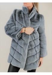 Grå faux fur jakke