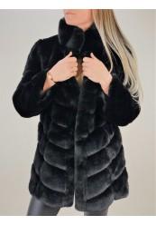 Sort faux fur jakke