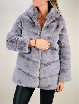 Kort grå pelsJakke med hætte
