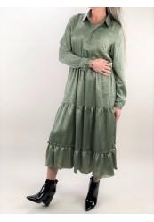Grøn Satin kjole med guld mønster