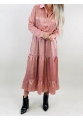 Rosa satin kjole med guld prikker