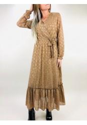 Chiffon kjole med guld blade