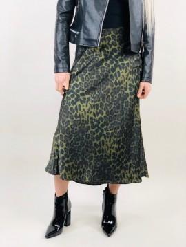 Grøn Satin Leopard Nederdel