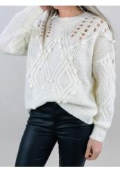 Hvid Strik bluse