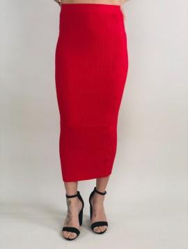 Rød Strik nederdel