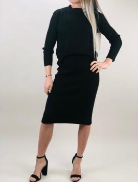 Sort striksæt nederdel og trøje