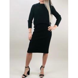 Image of   Sort striksæt nederdel og trøje - Størrelse - OneSize