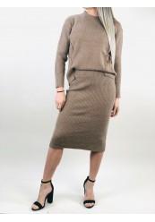 Khaki striksæt nederdel og trøje