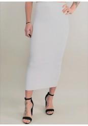 Hvid Lang Strik Nederdel