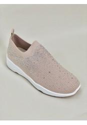 Beige Formstrikket Sneakers Simili