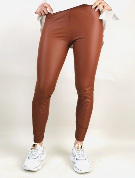 Brune Leggings i læderlook