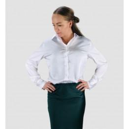 Image of   Klassisk Hvid Satin Skjorte - Størrelse - L