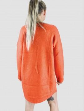 Orange Lang Strik med Glimmer