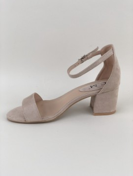 Nude Sandal med Blokhæl
