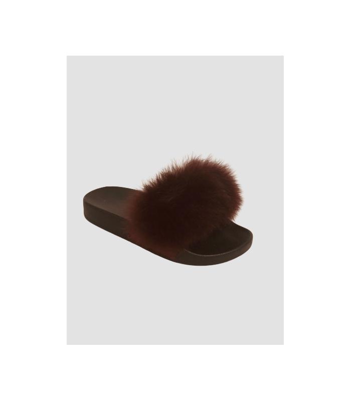 Ægte pelsslippers i bourdeaux