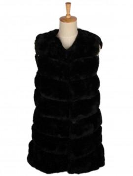 Sort Midi Faux Fur Vest Hoodie