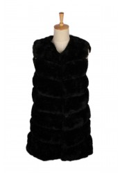 Sort Midi Faux Fur Vest
