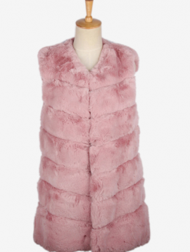 Sort Midi Faux Fur Vest