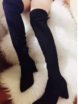 Overknee støvle med blokhæl