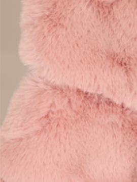 Lang Rosa Faux Fur Vest med Hætte