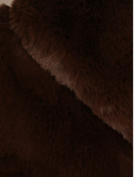 Brun Lang Faux Fur Vest med Hætte