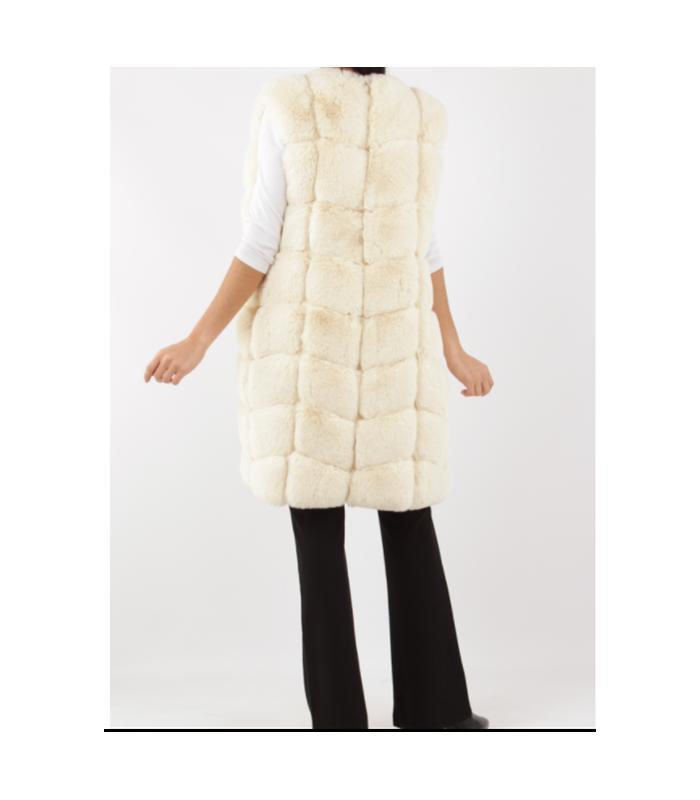 Lang beige Faux fur vest