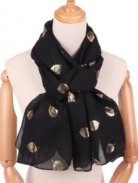 Sort Tørklæde med guldblad