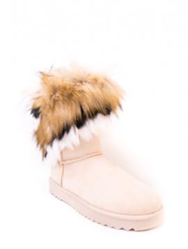 Bamsestøvle med fluffy pelskant