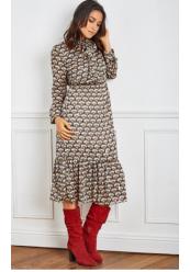 Mønstret kjole med flæse