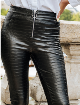 Croco leggings i læderlook