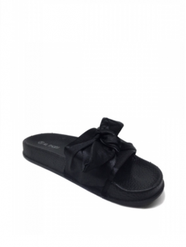 Satin sandal med sløjfe