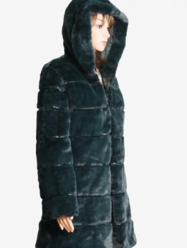 Lang faux fur jakke med hætte