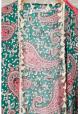 Kimono med print og frynser