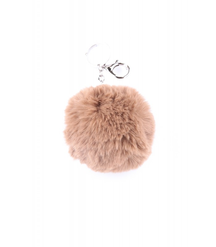 Nøglering Faux Fur Taupe