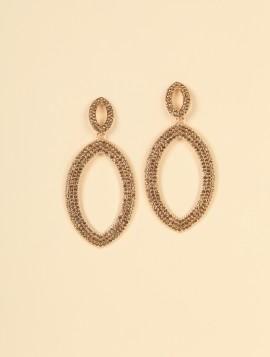Øreringe med guldfarvet sten